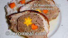 #Schweinsbraten #Schweinsbraten mit Füllung #Hackbraten #Gemüse tournieren Meatloaf, Memphis, Food, Ground Meat, Carrots, Kochen, Food Food, Xmas, Essen