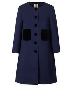 Pique Wool Patch Pocket Coat Ink: Orla Kiely Pre AW12