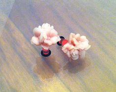 6G Rose Pink Flower Bouquet Plugs  Classy by PerfectionPetals, $16.00