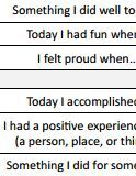 Use this worksheet to help clients build confidence and improve their self-esteem. The worksheet requires clients to answer three daily questions related to their successes, good qualities, and positive experiences. The layout of this printout is designed to be straight-forward and simple activity to help improve self-esteem.