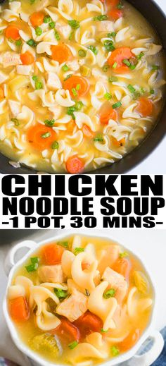 HOMEMADE CHICKEN NOODLE SOUP RECIPE- Quick, easy, old fashioned, made from scratch in one pot pot with simple ingredients. It's light, healthy, cheap, and a great flu fighter. Ready in 30 minutes on stovetop! From OnePotRecipes.com #soup #dinner #dinnerrecipes #souprecipes #dinnertime #chicken #noodles #chickenrecipes #onepot #30minutemeal