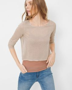 Cowl-Back Layered Sweater