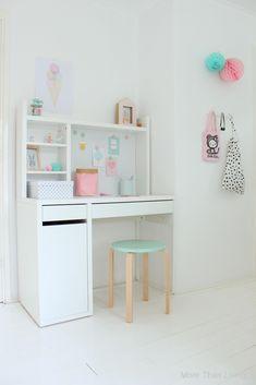 Craftpress teen girl room makeover orc home decor. Desk For Girls Room, Girl Desk, Kids Room, Desk For Kids, Teen Girl Bedrooms, Big Girl Rooms, Micke Desk, Study Room Decor, Bedroom Desk