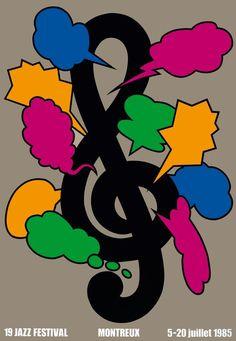 Montreux Jazz Festival - 1985 - Artwork by Shigeo Fukuda Festival Jazz, Montreux Jazz Festival, Festival Posters, Jazz Poster, Blue Poster, Luba Lukova, Illustration Design Graphique, Type Illustration, Milton Glaser