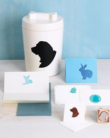 Why should sophisticated silhouettes be reserved for humans? Capture the contour of your furry or feathered friends, and use the image to personalize plain stationery or to mark the center of the universe -- a.k.a. the treats jar.