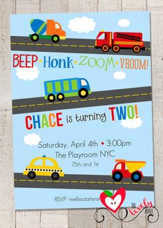 Transportation Birthday Party Invite DIY by thelovelyapple on Etsy