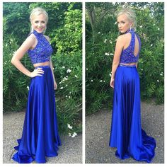 Halter High Neck Beaded Prom Dresses,Two Pieces Prom Dresses,Royal Blue Formal Gowns on Luulla Grad Dresses Long, Royal Blue Prom Dresses, Prom Dresses Two Piece, Open Back Prom Dresses, Junior Bridesmaid Dresses, Prom Dresses Blue, Halter Dresses, Prom Gowns, Dresses Dresses