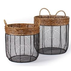 Adeco Trading 2 Piece Iron Wire Round Scoop Basket with Handles
