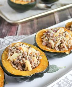 Baked Stuffed Acorn Squash with Sausage and Apples Recipe on Yummly. Sausage Stuffed Acorn Squash, Sage Sausage, Spicy Sausage, Apple Breakfast, Sausage Breakfast, Acorn Squash Recipes, Butternut Squash, Apple Recipes, Fall Recipes