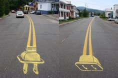 """Peter Gibson, also known as Roadsworth, began his work in 2001 with the addition of extra bike lanes to Montreal streets. Activism then morphed into a body of over 500 works. Gibson's images often incorporated existing road-markings into his creative designs, """"my intention was to create a language that would function as a form of satire, accentuating the absurdity inherent to certain aspects of urban living, urban space,  public policy."""" In 2004 Gibson was charged with 51 accounts of public…"""