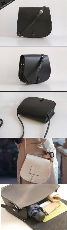 awesome Handmade Leather crossbody bag shoulder bag small black for women leather should...