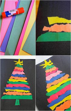 Practice fine motor skills without scissors! This easy paper tree craft uses only 2 materials and can be fun for all ages. Perfect for Christmas.
