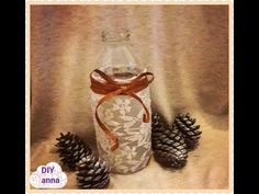 how to decorate bottle with lace and paper ribbon DIY ideas decorations craft tutorial / URADI SAM Ribbon Diy, Paper Ribbon, Lace Fabric, Craft Tutorials, Decor Crafts, Glass Bottles, Diy Ideas, Wall Lights, Decorations