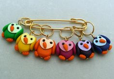 Stitch Markers RAINBOW OWLS   for Knit or Crochet set by fcwhimsey, $12.99