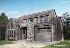 Cottage Model Le Alpin - Unemaison Metal Barn Homes, Metal Building Homes, Pole Barn Homes, Building A House, Cottage In The Woods, House In The Woods, Pole Barn House Plans, Modern Farmhouse Exterior, Modern Cottage