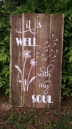 It Is Well With My Soul - Christian Home Decor - Christian Gift - Christian Wall Decor - Christian Wall Art - Christian Decor - Rustic Signs by OnALimbCreations on Etsy https://www.etsy.com/listing/238371277/it-is-well-with-my-soul-christian-home