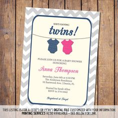 Boygirl twin onesie baby shower invitation pink and blue digital twins baby shower invitation gender neutral boy girl twins hot pink and navy digital printable file filmwisefo Image collections