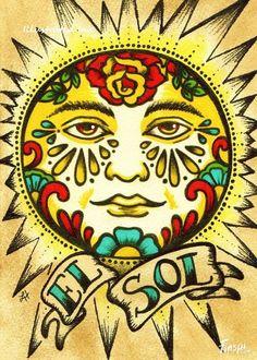 mexican-folk-art-sun-el-sol-loteria-print-5-x-7-or.jpg (570×798)