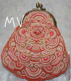 Вечерня сумочка коралловая - коралловый,орнамент,вечерняя сумочка,Сумка с фермуаром