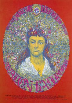 Classic rock concert psychedelic poster - Concert at the Avalon Ballroom (Santana; Youngbloods; It's A Beautiful Day; Dog)