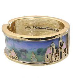 Gold Plated And Enamel Cinderella Castle Scene Bangle From Disney Couture : TruffleShuffle.com on Wanelo