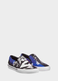 VERSACE Slip-On Jp Collage Print Sneakers. #versace #shoes #sneakers