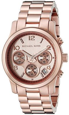 Michael Kors Women's Runway Rose Gold-Tone Stainless Steel Watch - - WOMEN`S WATCHES - The Michael Kors Rose Gold Runway Watch adds a splash of red to an otherwise classic all-metal sport watch. Its stainless steel bracelet-style band wi Michael Kors Rose Gold, Michael Kors Watch, Stainless Steel Watch, Stainless Steel Bracelet, Rose Gold Watches, Women's Watches, Wrist Watches, Sell Gold, Stylish Watches