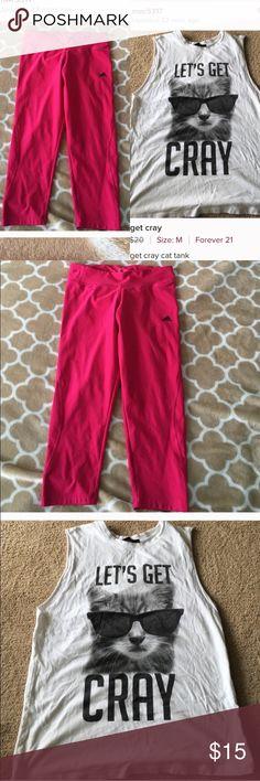 BUNDLE Pink adidas spandex and let's get cray gym shirt Adidas Pants Leggings