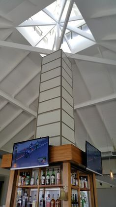 IsoBoard ceiling insulation can be painted to match the interior décor, meaning this product offers dual functions of thermal insulation plus acting as a ceiling board. Dark Ceiling, Thermal Insulation, Dark Interiors, Ceiling Design, Restaurant Design, Beams, Restaurants, Interior Decorating, Commercial