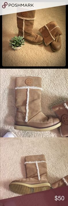 Tory Burch Ugg Boots These Tory Burch Ugg style boots are super warm and comfortable in the winter. They have only been worn 3 times. They are very cute and comfortable and are sure to impress people during the winter! Tory Burch Shoes Winter & Rain Boots