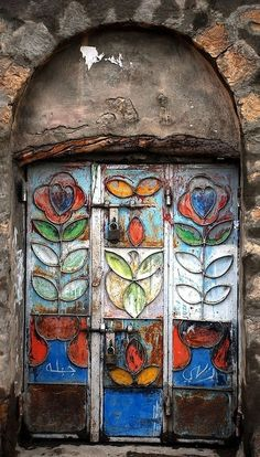 colorful painted door-