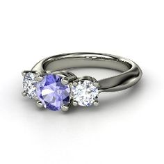 Rosemary Ring, Round Tanzanite Palladium Ring with Diamond from Gemvara