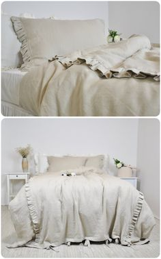Linen Duvet Cover Set in Full Queen King Size by RoseHomeDecor Ruffle Bedding, Linen Duvet, Dorm Bedding, Ruffle Curtains, Neutral Bed Linen, Black Bed Linen, Luxury Bedding Collections, Luxury Bedding Sets, Neutral Bedroom Decor