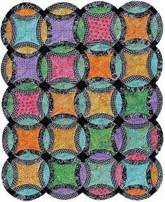 scrap wedding ring quilt -