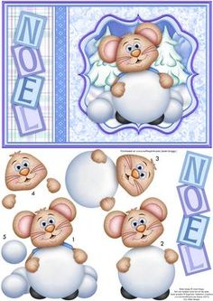 MOUSE SNOWBALL Christmas Card Topper Decoupage on Craftsuprint designed by Janet Briggs - Cute Christmas card topper and 3d step by step decoupage.Features a cute mouse with a snowball.Noel down the side.