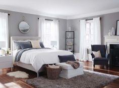gris perle, blanc et accents anthracite dans la décoration de la chambre à coucher chic