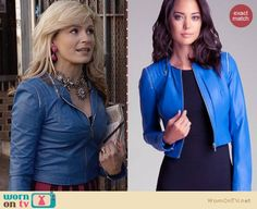 Samantha's purple and pink striped bodycon dress and blue leather jacket on The Carrie Diaries.  Outfit Details: https://wornontv.net/26747/ #TheCarrieDiaries