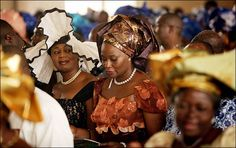 African women at church in West African garb.