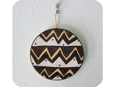 """""""Zig Zag Circle Ornament"""" by #katnawlins on #etsy, $7.00 - #ornament #holiday #circle #chevron #zigzag #funky #dots #peach #black #white #coloredpencil"""