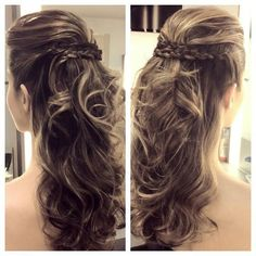 Penteado de festa para madrinha ou formanda: penteado semi preso, coque e rabo de cavalo Elegant Hairstyles, Up Hairstyles, Braided Hairstyles, Wedding Hairstyles, Bridal Hair Inspiration, How To Make Hair, Bridesmaid Hair, Hair Dos, Gorgeous Hair