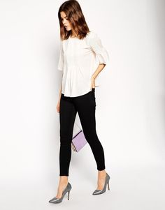 ASOS 3/4 Sleeve Top With Pintuck Detail (Cream)  UK 6  EU 34 RRP £30.00