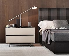 Bedside table / contemporary / in wood / indoor - MORRISON - Minotti Modern Bedroom Furniture, Bedside Table Contemporary, Furniture, Bed, Master Bedroom Design, Bedside Table, Bookcase Sideboard, Modern Bedside Table, Minotti