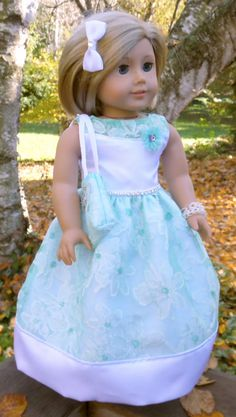American Girl Doll Clothes Aqua and White by buttonandbowboutique, $22.00