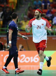 Mikkel Hansen of Denmark reacts during the first half against France in the…