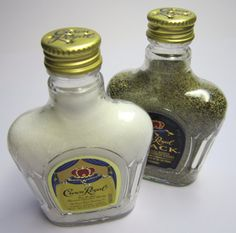 Crown Royal Salt and Pepper Shakers - Handcrafted from Original Plastic Miniature Bottles - Upcycle, Re-purpose, Re-use in Style!