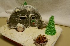 I made this camper gingerbread house, complete with flickering light campfire and a light inside the camper