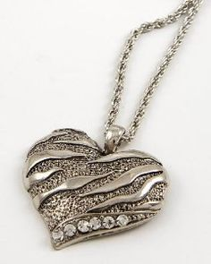 Zebra Designer Style Heart Necklace w/Rope chain by Jersey Bling ships in Gift Box: Jewelry: Amazon.com