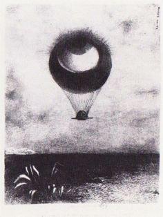 Odilon Redon (French: 1840–1916), [Post-impressionism, Symbolism] The eye like a strange balloon goes to infinity, 1882.