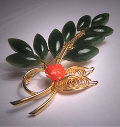 Antique Coral Jade Brooch Large Pin Vintage Retro Deco via Etsy