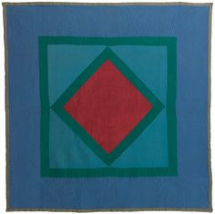 Amish Quilt. Center diamond in the square,  circa 1920, Wool.